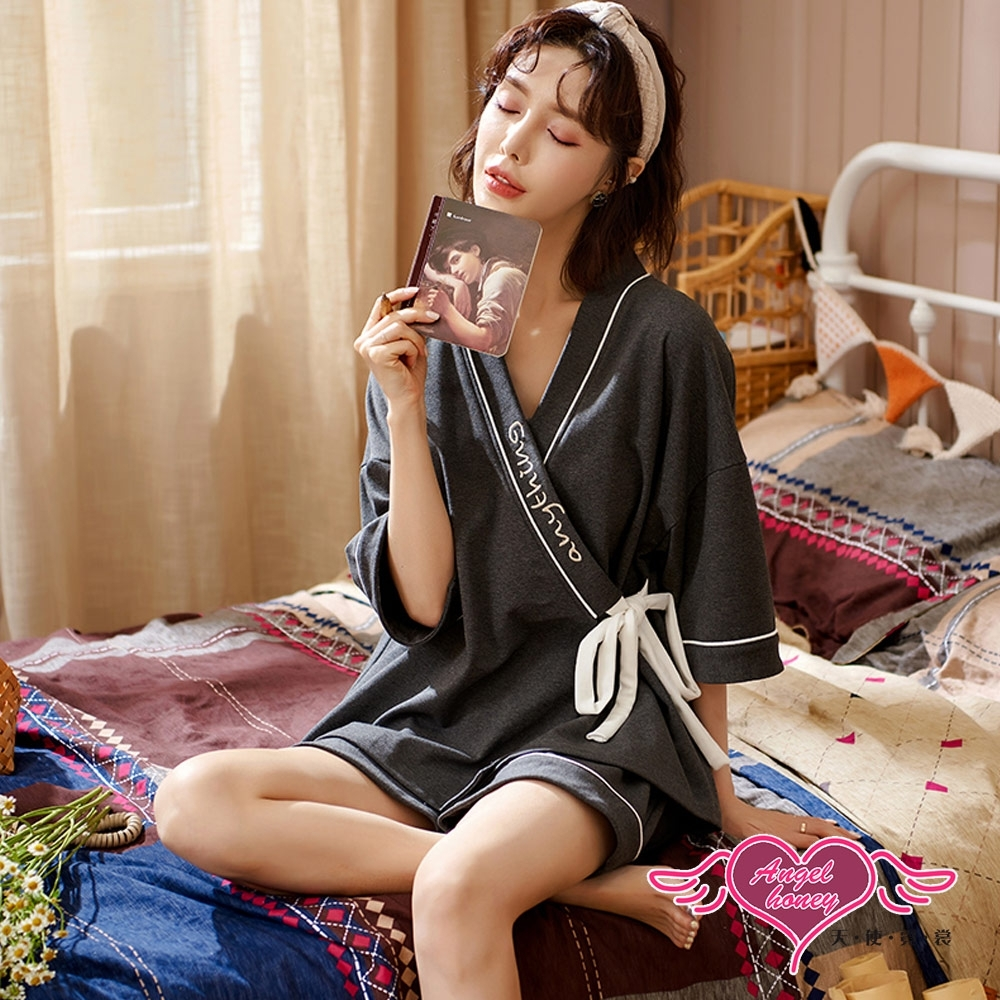 短袖居家休閒睡衣 日式和風 綁帶設計 短袖二件式睡衣 休閒居家服 (深灰F) AngelHoney天使霓裳