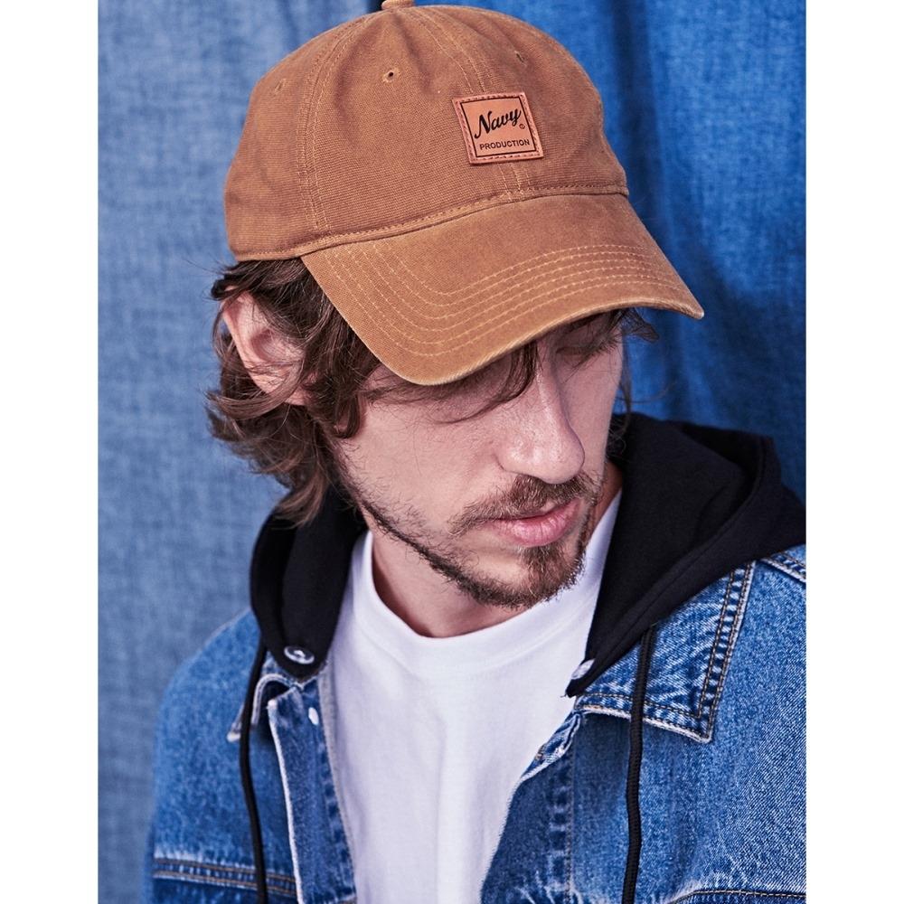 NAVY-洗水款皮標帽-男【UNA020】