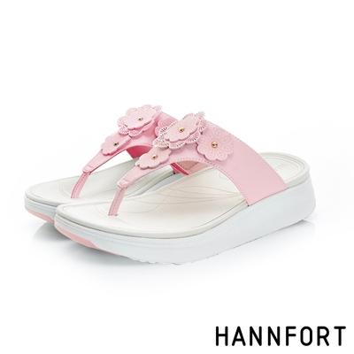 HANNFORT Ultra Comf 4D茶香玫瑰雕花T字涼鞋 女 輕盈粉