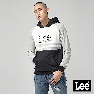 Lee 大LOGO長袖連帽厚TEE/RG-標準版-灰