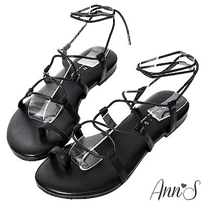 Ann'S二代腳部馬甲線-繫繩繞帶平底羅馬涼鞋-黑