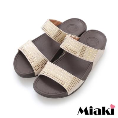 Miaki-拖鞋金屬時尚休閒坡跟涼拖-米