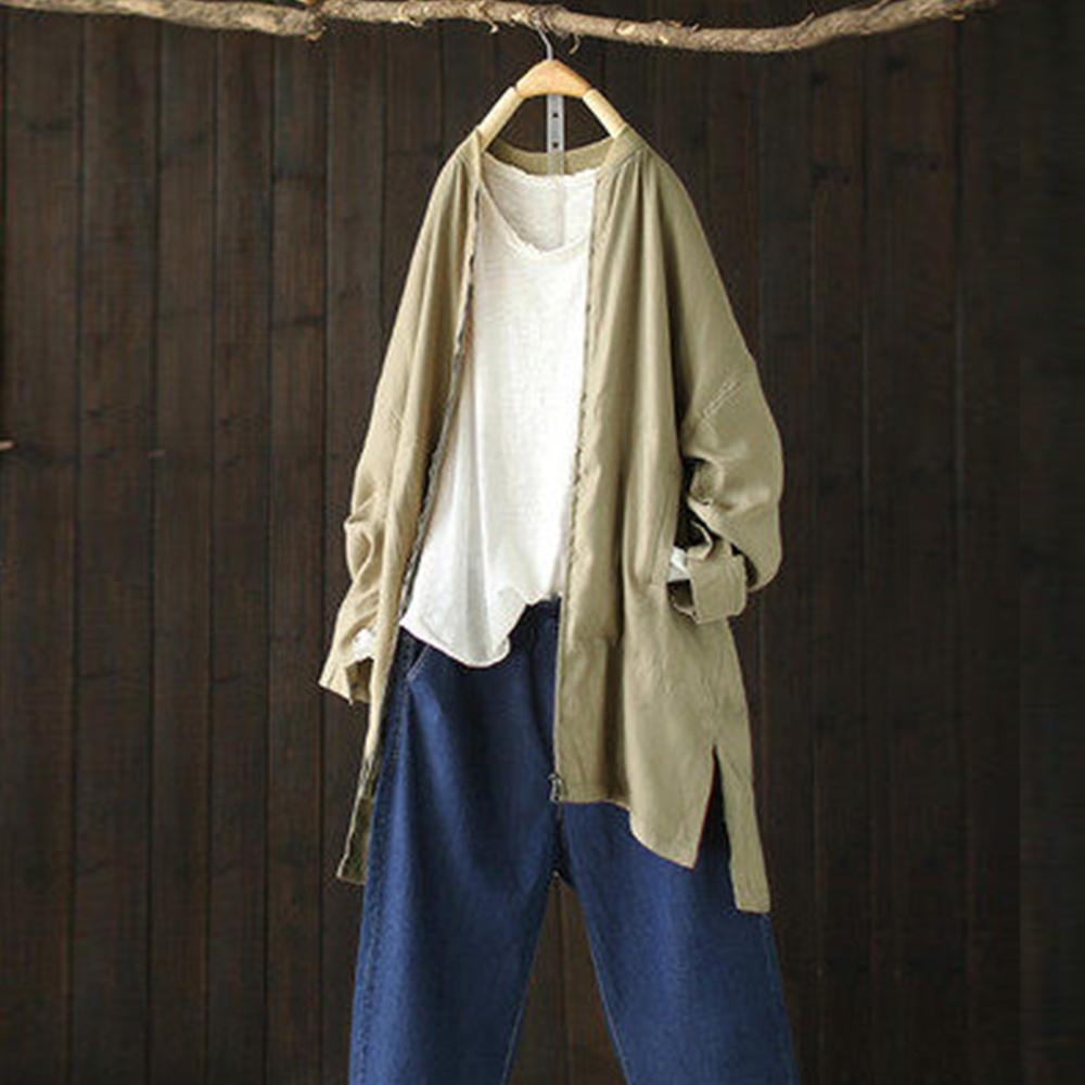 簡約棒球領外套中長版夾克上衣-設計所在