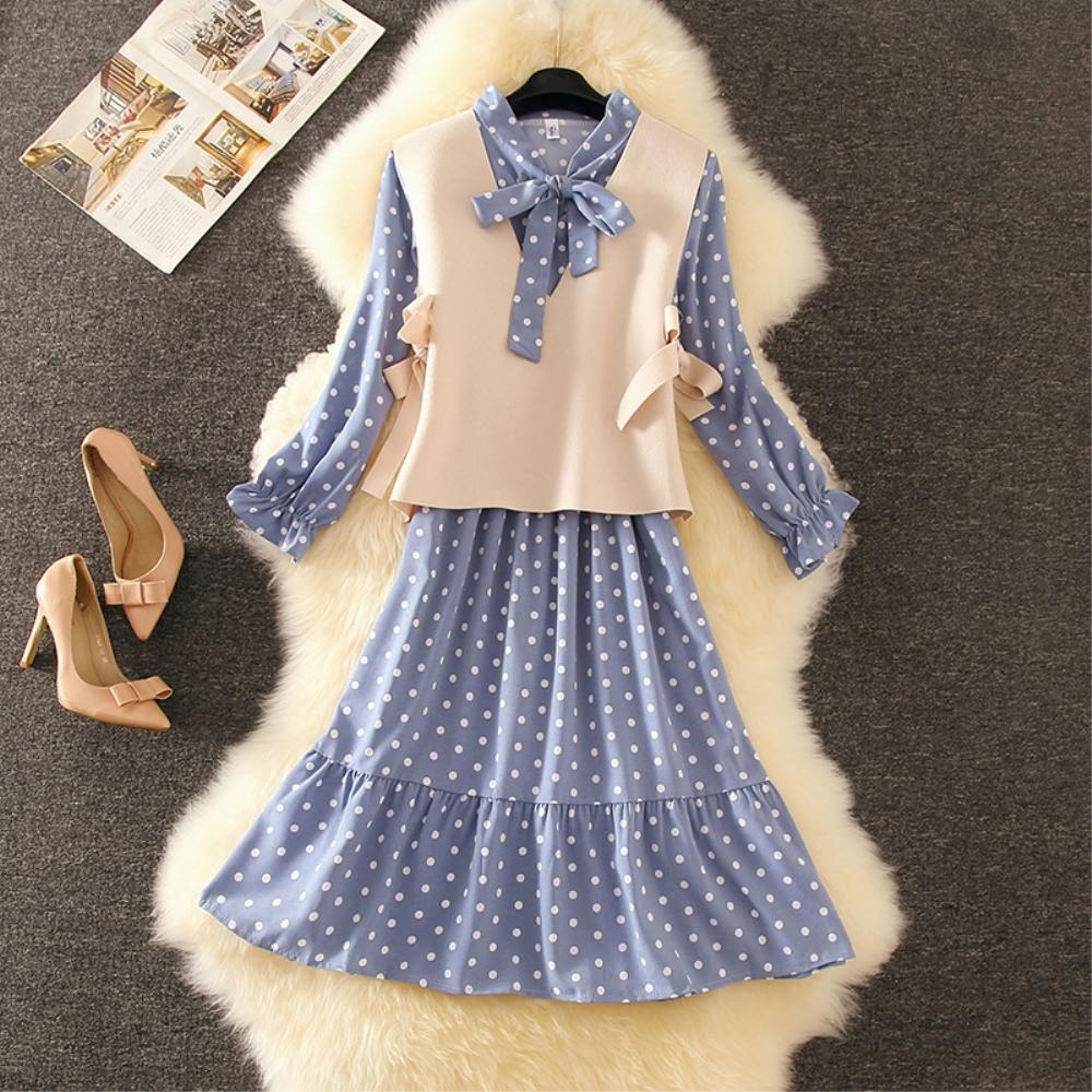 DABI 韓國風小清新波點呢馬甲套裝長袖裙裝