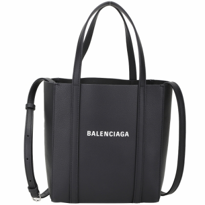BALENCIAGA Everyday 品牌字母小牛皮小型兩用托特包(黑色)