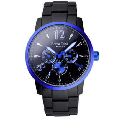 Roven Dino羅梵迪諾 星火燎原三環日曆腕錶-黑藍(RD653-496-BU)43mm