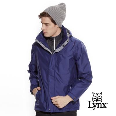 【Lynx Golf】男款防風防水透濕連帽格紋配布長袖外套-藍色
