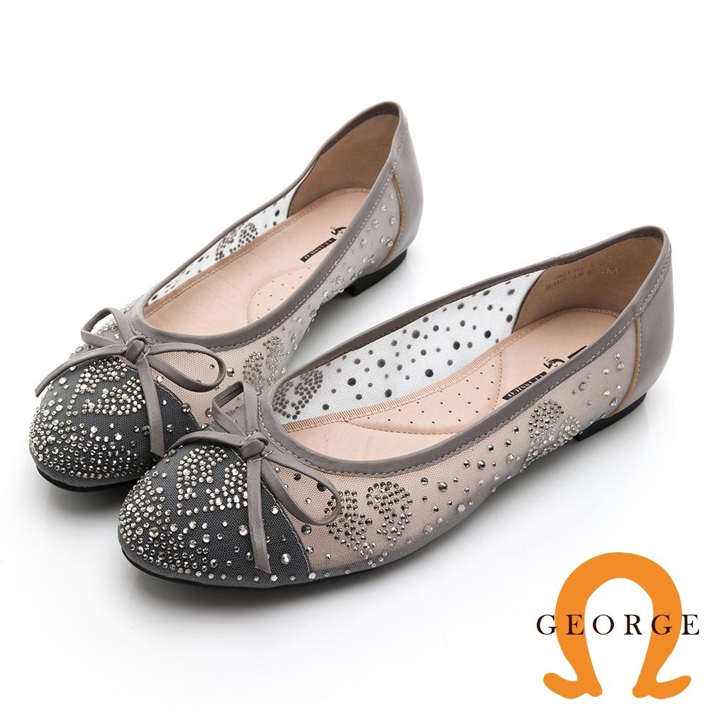 GEORGE 喬治皮鞋 輕柔微透膚蝴蝶結圓頭娃娃鞋-可可色