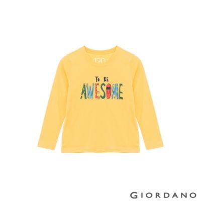 GIORDANO 童裝探索自然純棉T恤 - 41 含羞草黃