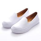 G.Ms. MIT晴雨兩穿-3M防水牛皮厚底懶人樂福鞋-白色