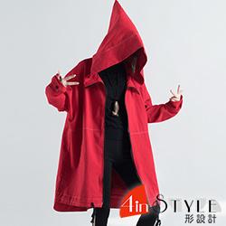 個性純色連帽寬鬆牛仔外套 (共二色)-4inSTYLE形設計