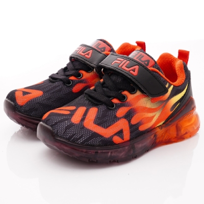 FILA頂級童鞋 火焰電燈運動鞋款 EI25T-022黑紅(中小童段)