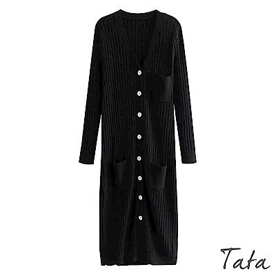 V領排扣針織洋裝 TATA