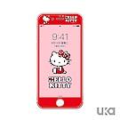 優加 iPhone 7/8 plus Hello Kitty鋼化玻璃彩繪保護貼-坐姿凱蒂貓