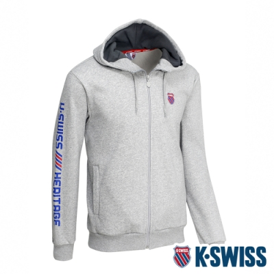 K-SWISS Shield Logo刷毛連帽外套-男-淺灰