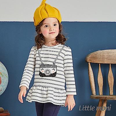 Little moni 荷葉襬相機印圖上衣(共2色)