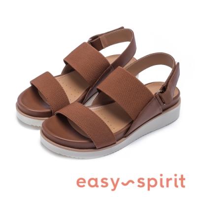 Easy Spirit evWREN 典雅百搭寬帶後繫帶低跟涼鞋-咖啡色