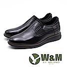 W&M 氣墊感舒適 休閒款男皮鞋-黑