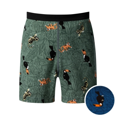 DADADO 熱帶森林 140-160男童內褲(藍) 品牌推薦 舒適寬鬆 四角男褲