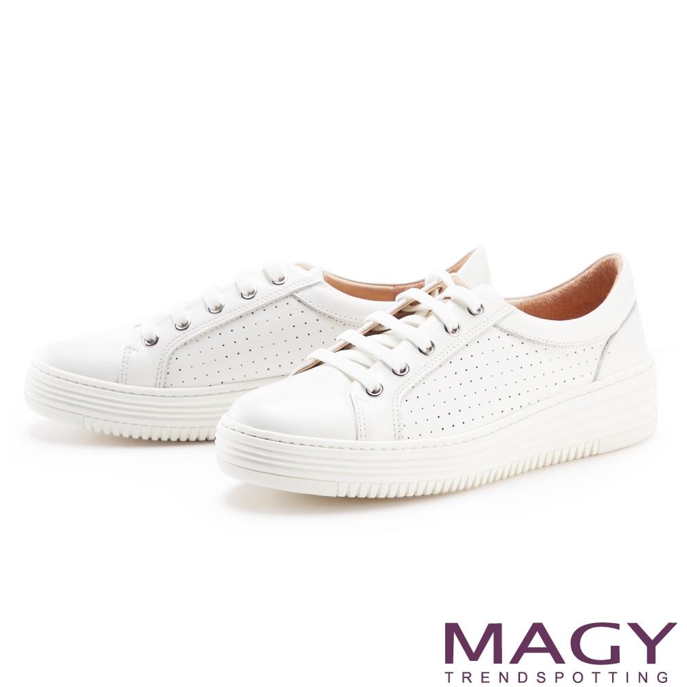 MAGY 真皮穿孔厚底綁帶 女 休閒鞋 白色