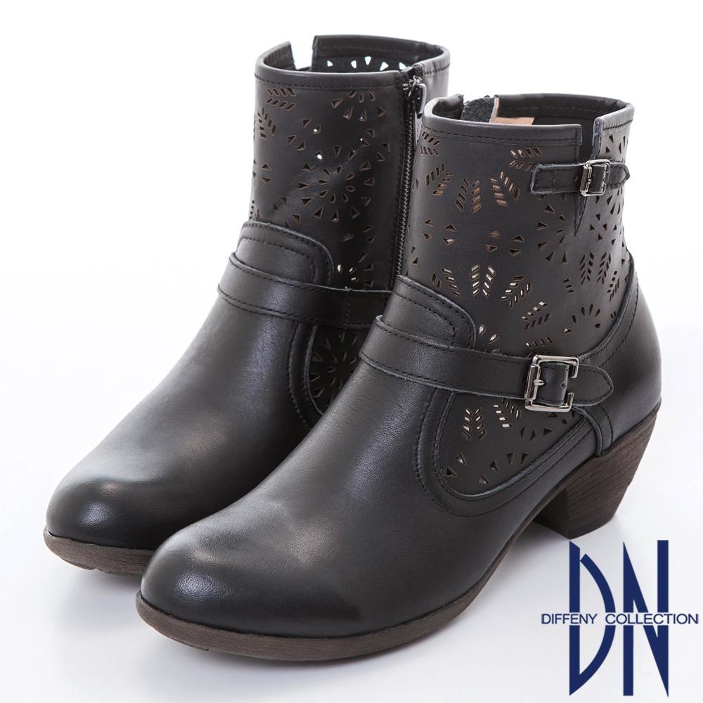 DN 微甜魅力 MIT全真皮簍空雕花短靴-黑