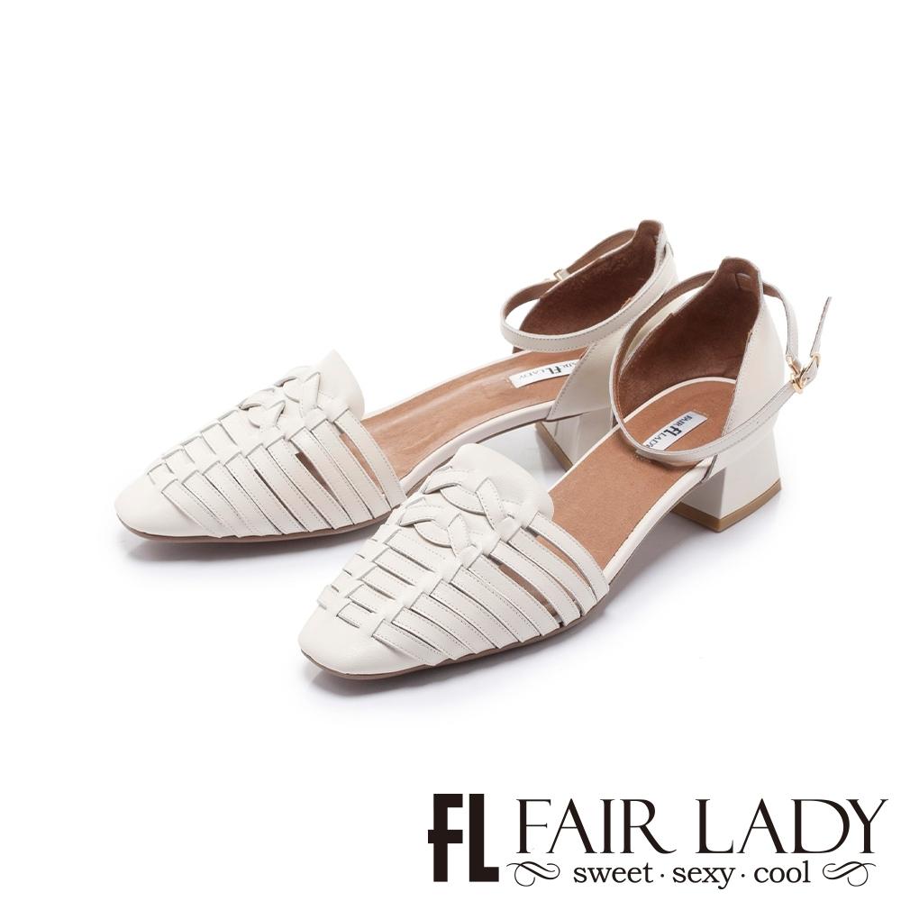 FAIR LADY 小時光 手工編織繫踝低跟涼鞋 白