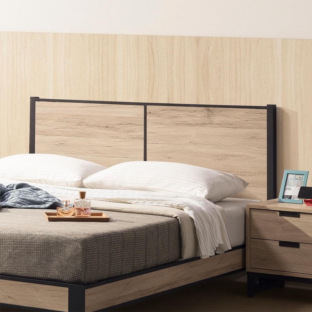直人木業-NEWLON北美橡木6尺雙人平面床頭片(不含床底)