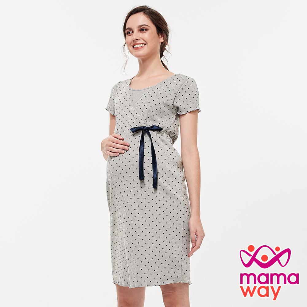 mamaway媽媽餵 素雅印點綁帶孕哺居家洋裝(共2色)
