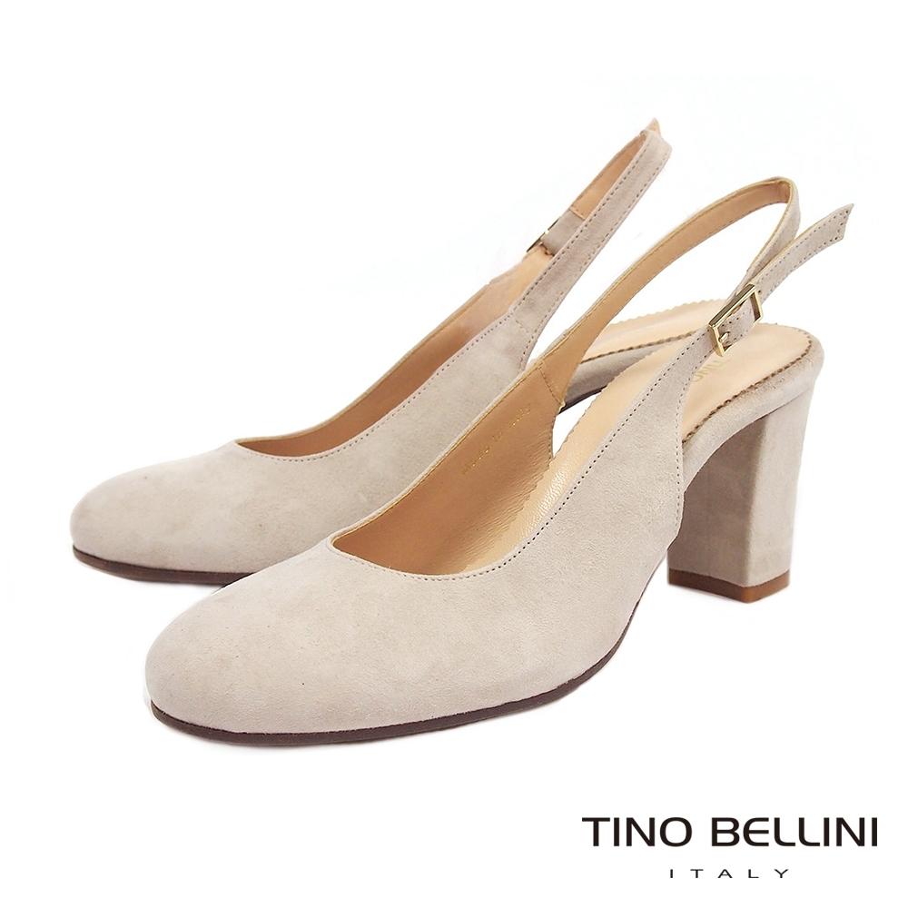 Tino Bellini義大利進口優雅牛麂皮後拉帶高跟鞋_灰白