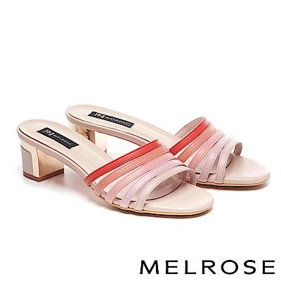 拖鞋 MELROSE 玩味色彩羊皮繫帶粗高跟拖鞋-粉