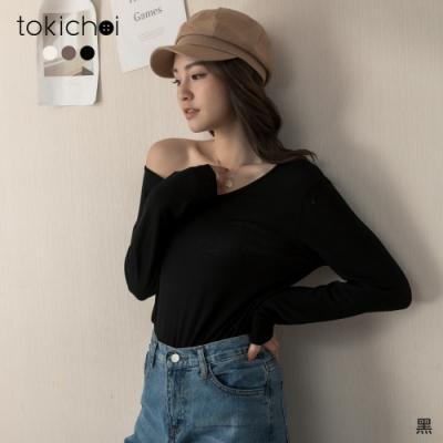 東京著衣 慵懶親膚柔軟彈性多色素面長袖上衣(共三色)