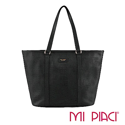 MI PIACI 革物心語- 全皮托特包(壓鱷魚紋) 黑色-1583104
