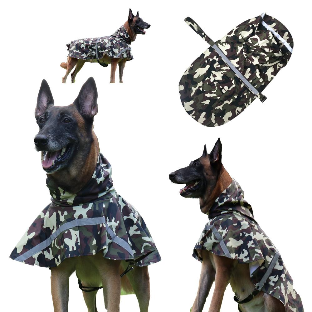 摩達客寵物系列-寵物大狗小狗透氣防水雨衣(迷彩綠/反光條/6種尺寸可選)