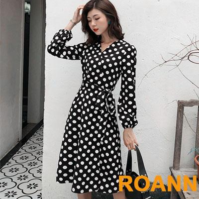 V領圓點圖紋燈籠袖長袖洋裝 (黑色)-ROANN