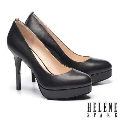 高跟鞋 HELENE SPARK 都市時尚蛇紋微尖頭羊皮美型高跟鞋-黑