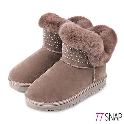TTSNAP雪靴-鍍色水鑽閃亮仿牛麂皮中筒靴 卡其