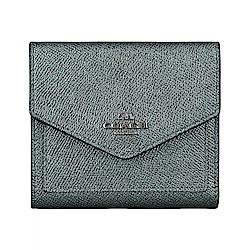 COACH專櫃款經典鐵灰字馬車LOGO金屬色牛皮7卡扣式短夾(星光綠)