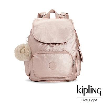 Kipling 金屬光暈微醺粉拉鍊掀蓋後背包-CITY PACK S
