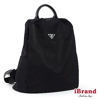 iBrand後背包 簡約鐵標尼龍後開防盜式後背包-黑色