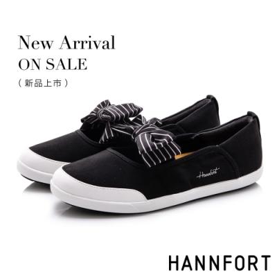HANNFORT CALIFORNIA 海軍條紋蝴蝶結休閒鞋-女-黑