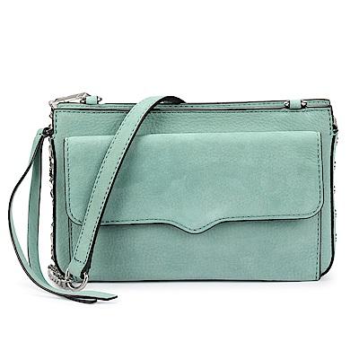 Rebecca Minkoff BREE 麂皮側鉚釘綴飾前口袋斜側背包-粉綠色