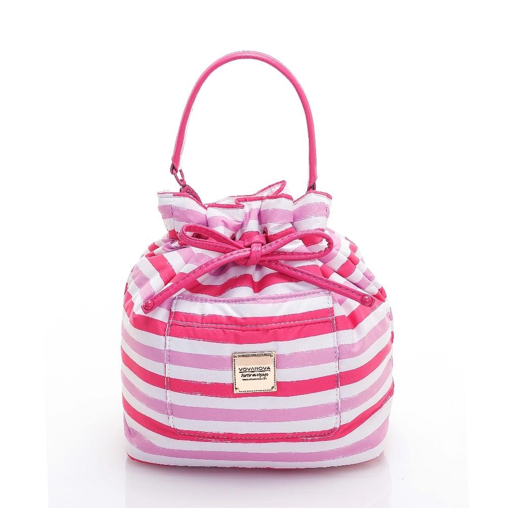 VOVAROVA空氣包-口袋水桶包-經典條紋(粉)