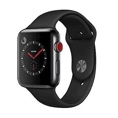 Apple Watch S3(GPS+網路) 42mm 黑色不鏽鋼錶殼搭配黑色運動型錶帶 @ Y!購物