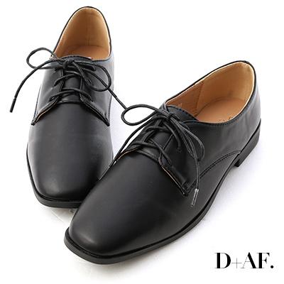 D+AF 小時代.素面方頭綁帶牛津鞋*黑