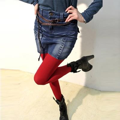 正韓 立體水洗刷色牛仔短裙 (藍色)-Chic Girl