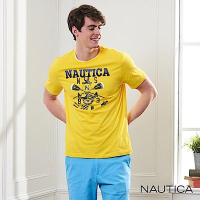 Nautica 航海家圖騰LOGO短袖T恤-亮黃