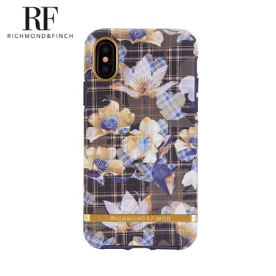 RF瑞典手機殼 金線框-棋盤花格 (iPhone X/Xs 5.8吋)
