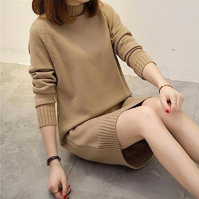 AH dream夢想女孩 韓版新款高領中長版針織連身短裙(4色)