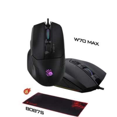 加贈電競滑鼠墊 A4 Bloody W70 MAX 靈敏調校RGB彩漫電競滑鼠(未激活) 削光黑