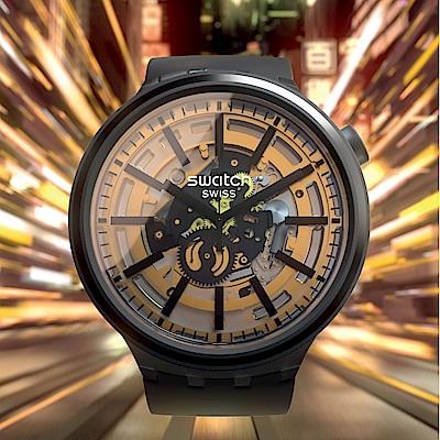 Swatch BIG BOLD系列手錶 DARK TASTE 太陽光譜- 宇宙黑-47mm